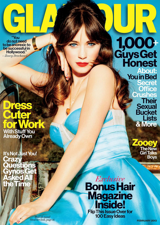 Zooey Deschanel cover of Glamour Magazine.