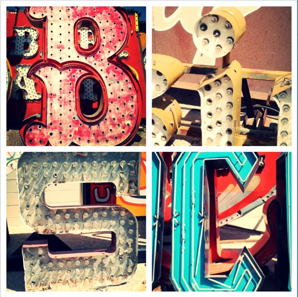 Letters collected around the Neon Museum to create this BiSC collage.