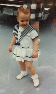 "little me in my sailor get up complete with earrings, ""hair"" bow and patent leather shoes similar to those on FDR's feet."
