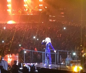 Picture I took at the Mrs. Carter Show. Please note this ever fab purple jumpsuit Beyonce is sporting.